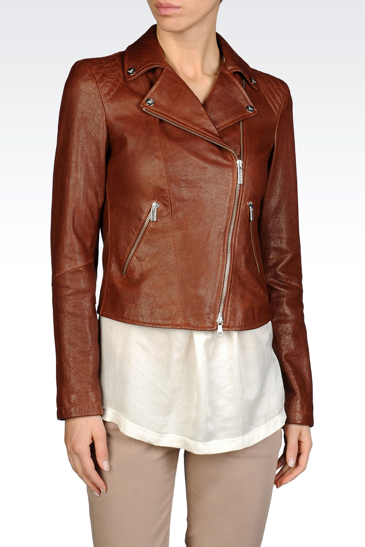 JACKET IN HAMMERED LEATHER NOTCH LAPELS: Leather jackets Women by Armani - 0