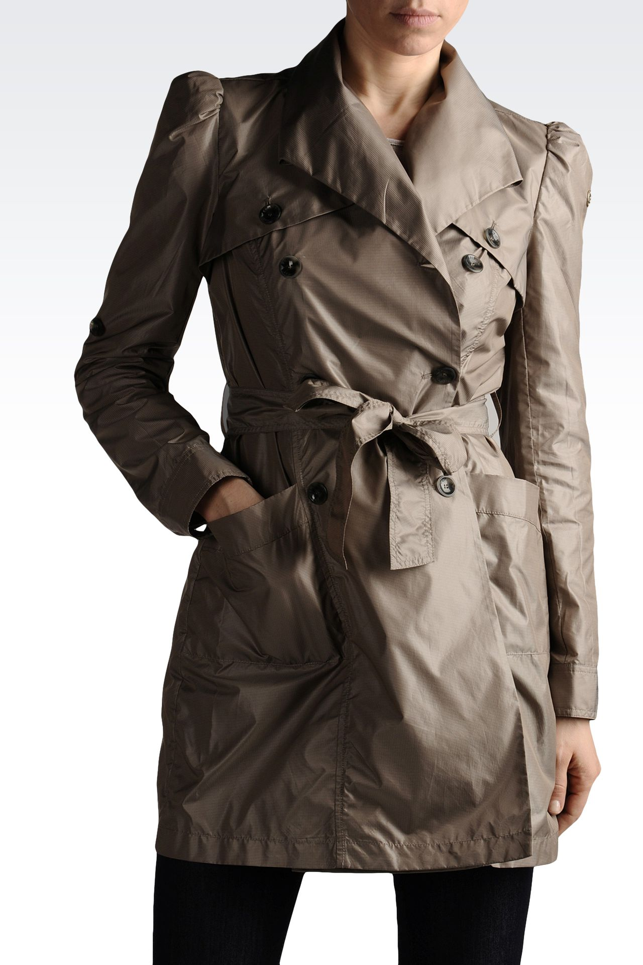 trench in waterproof technical fabric: Dust jackets Women by Armani - 0