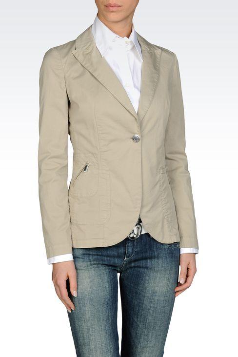 SINGLE BUTTON JACKET IN STRETCH COTTON GABARDINE: One button jackets Women by Armani - 1