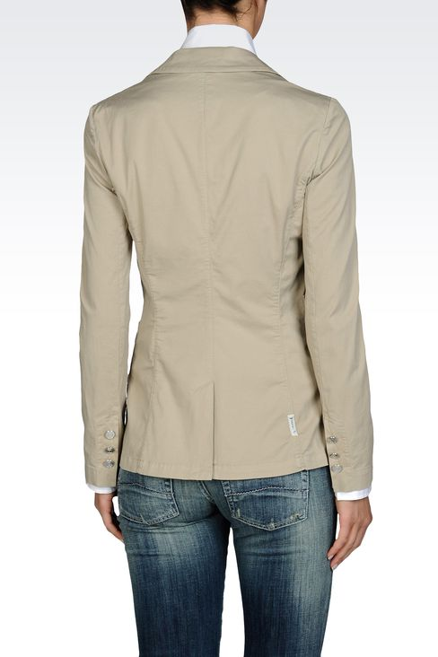SINGLE BUTTON JACKET IN STRETCH COTTON GABARDINE: One button jackets Women by Armani - 2