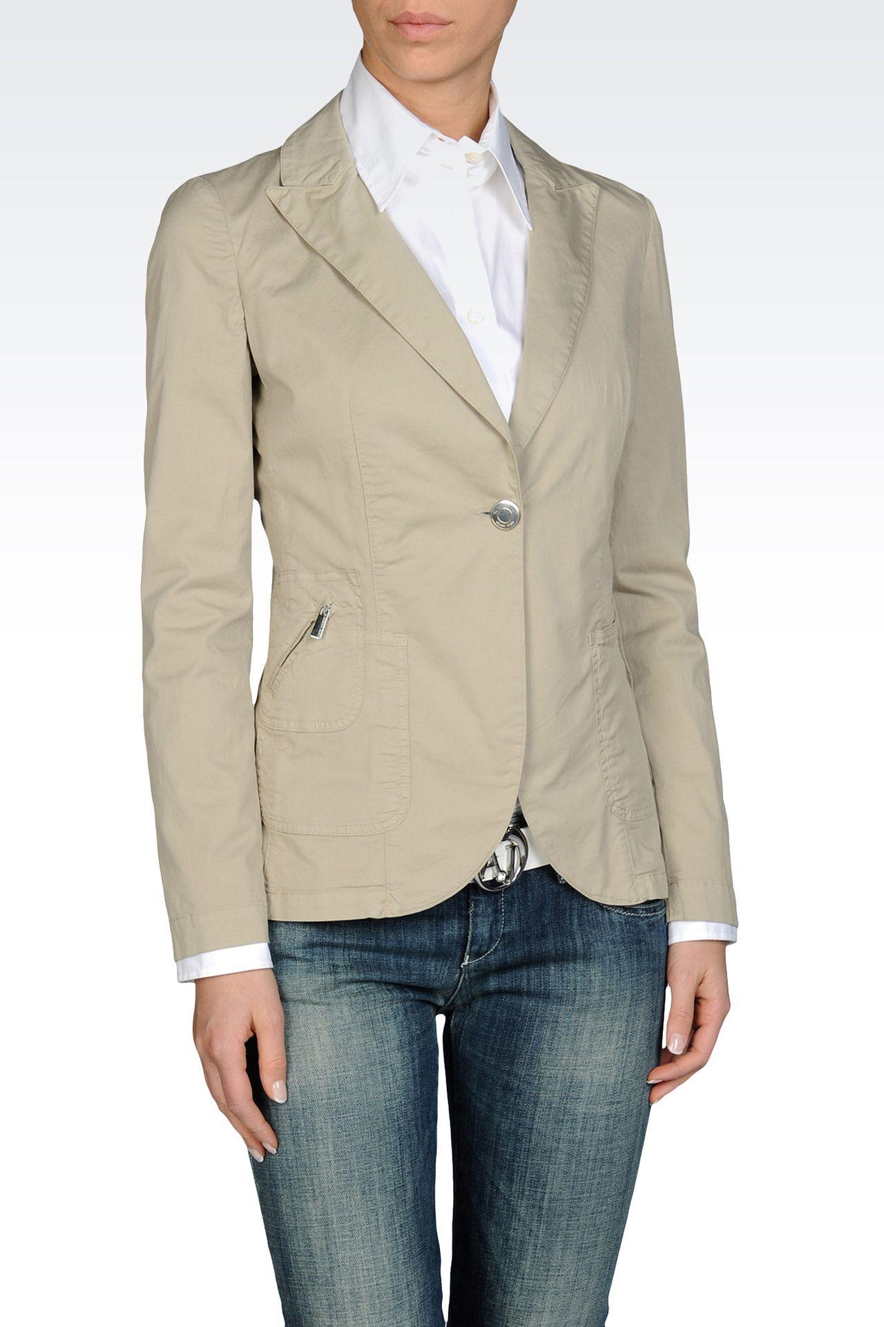 SINGLE BUTTON JACKET IN STRETCH COTTON GABARDINE: One button jackets Women by Armani - 0