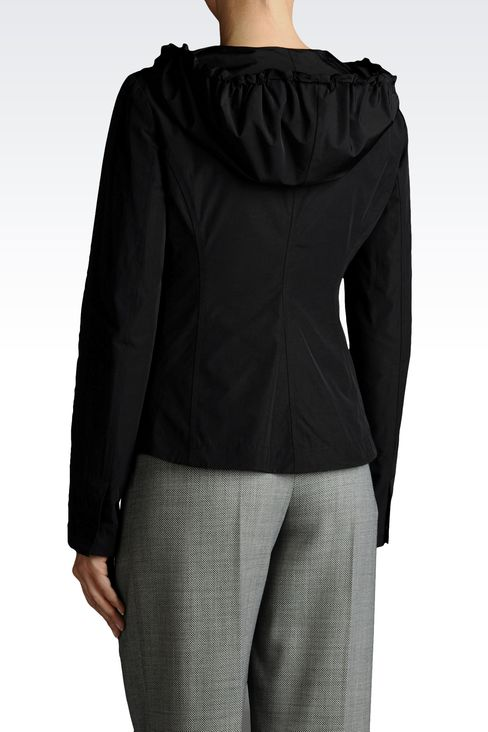 HOODED JACKET IN TECHNICAL FABRIC: Dust jackets Women by Armani - 2