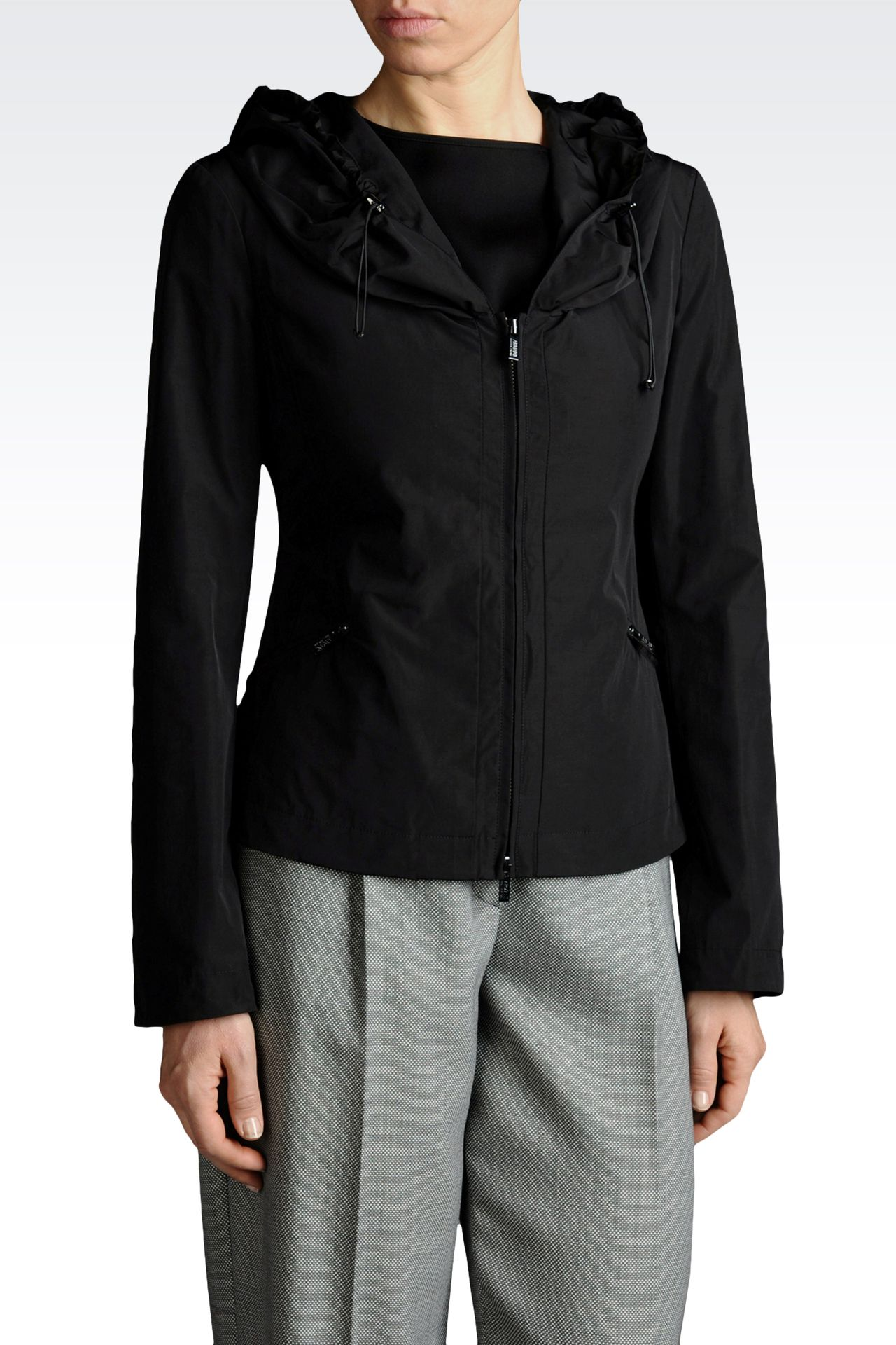 HOODED JACKET IN TECHNICAL FABRIC: Dust jackets Women by Armani - 0