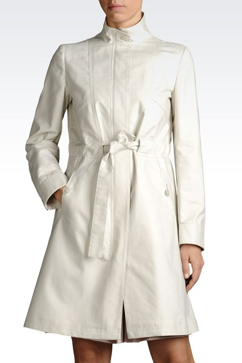 COTTON DUSTER COAT WITH BELTED WAIST: Single-breasted coats Women by Armani - 1