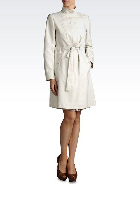 COTTON DUSTER COAT WITH BELTED WAIST: Single-breasted coats Women by Armani - 2