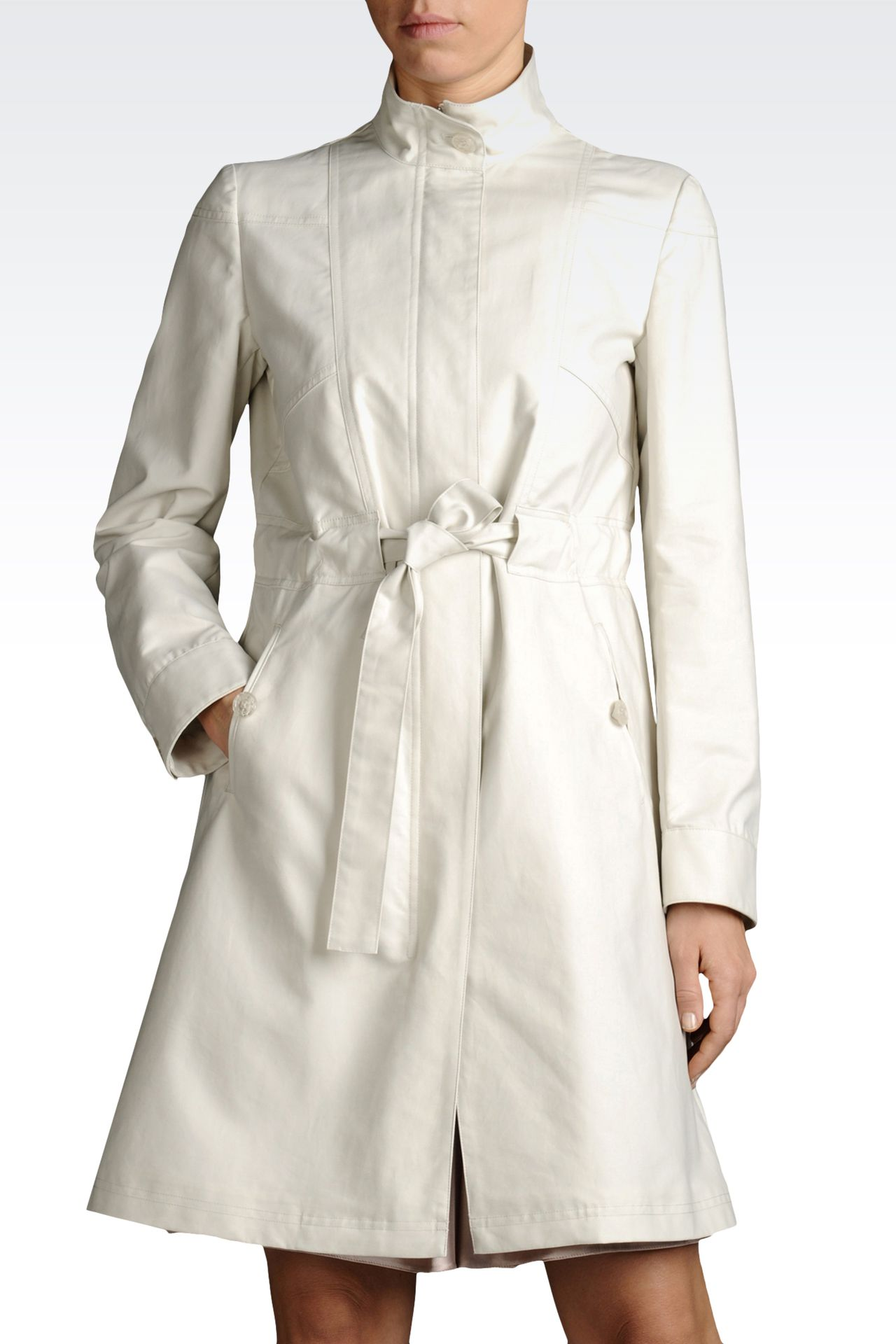 COTTON DUSTER COAT WITH BELTED WAIST: Single-breasted coats Women by Armani - 0