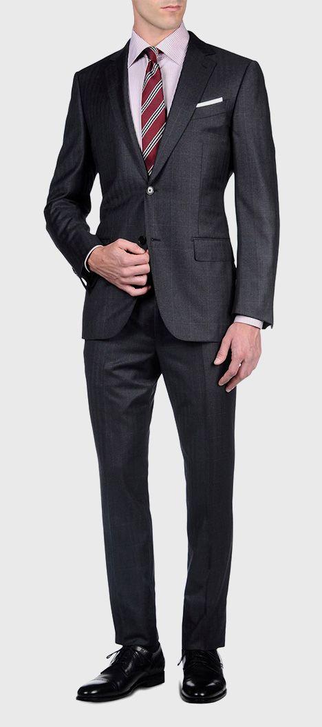 ERMENEGILDO ZEGNA: Suit Flannel Button, zip 2 buttons Dual back Steel grey, Detail 5 - 41375085OQ