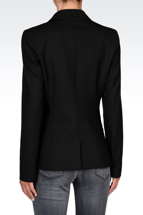 SINGLE-BREASTED CONTRASTING-LAPEL BLAZER: Two buttons jackets Women by Armani - 3