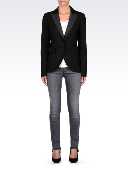 SINGLE-BREASTED CONTRASTING-LAPEL BLAZER: Two buttons jackets Women by Armani - 1