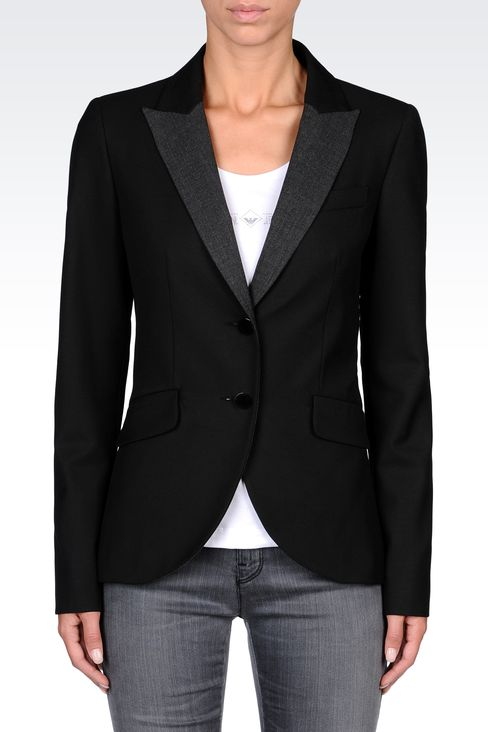 SINGLE-BREASTED CONTRASTING-LAPEL BLAZER: Two buttons jackets Women by Armani - 2