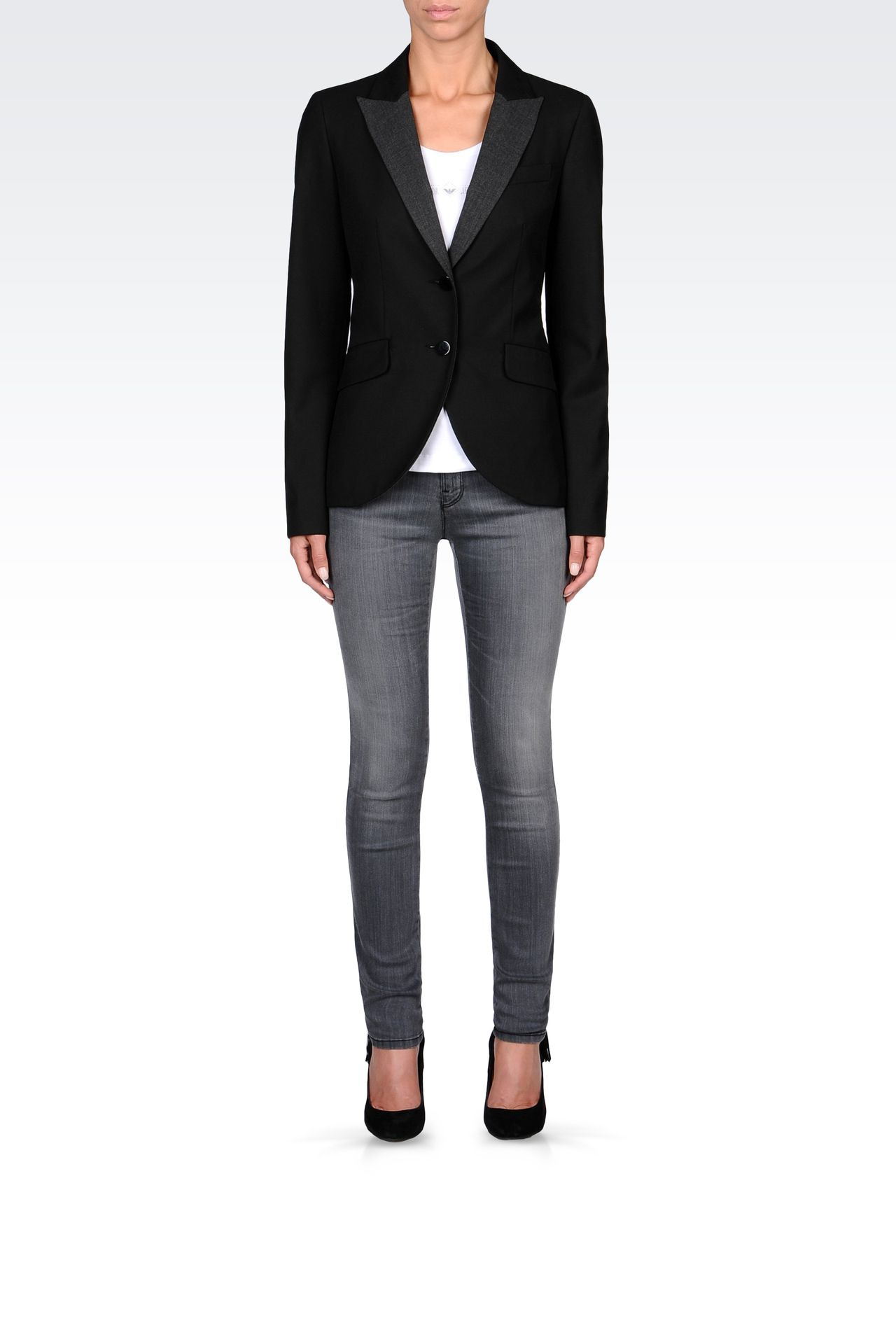 SINGLE-BREASTED CONTRASTING-LAPEL BLAZER: Two buttons jackets Women by Armani - 0