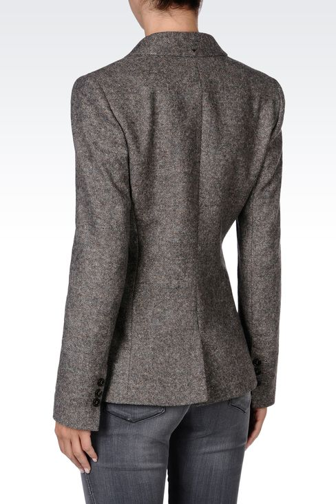 SINGLE-BREASTED TWEED CLASSIC JACKET: Two buttons jackets Women by Armani - 3
