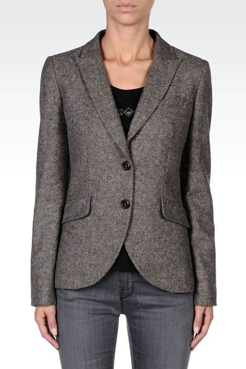 SINGLE-BREASTED TWEED CLASSIC JACKET: Two buttons jackets Women by Armani - 2