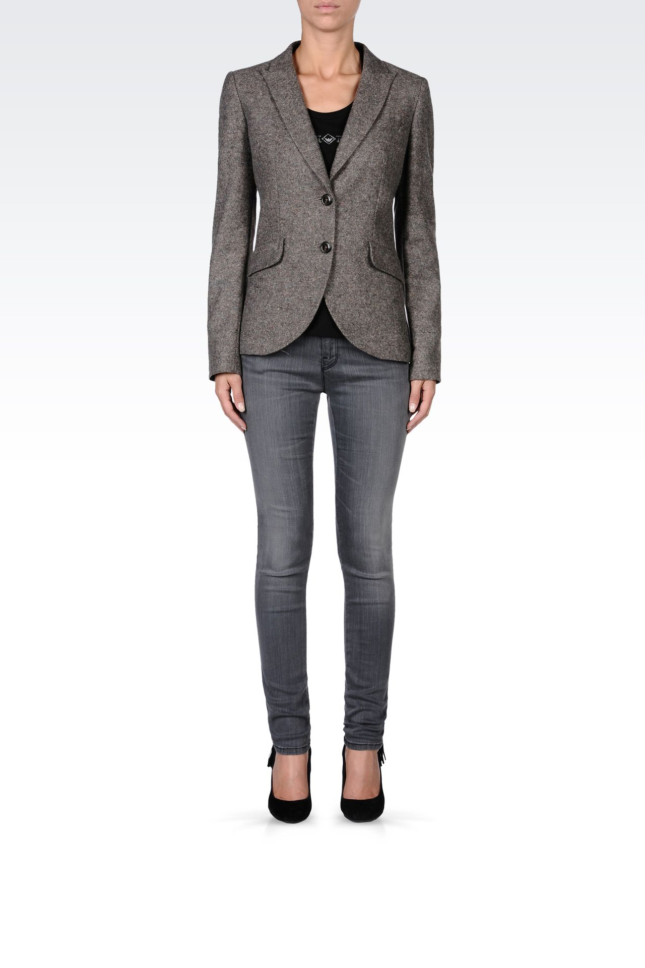 SINGLE-BREASTED TWEED CLASSIC JACKET: Two buttons jackets Women by Armani - 0