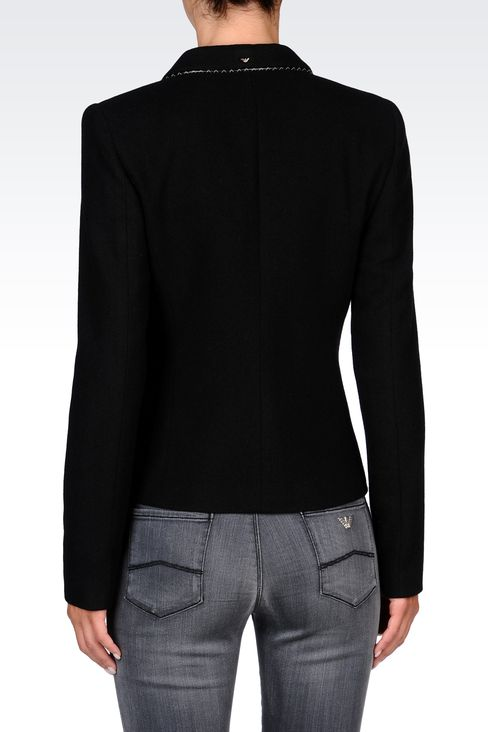 TWILL BLAZER WITH LEATHER DETAILS: One button jackets Women by Armani - 3