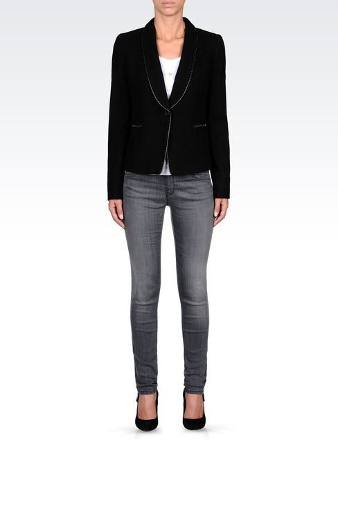 TWILL BLAZER WITH LEATHER DETAILS: One button jackets Women by Armani - 1