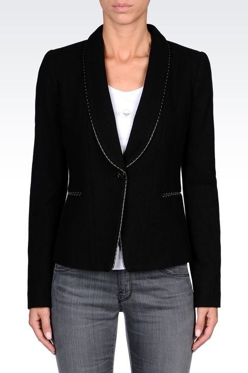 TWILL BLAZER WITH LEATHER DETAILS: One button jackets Women by Armani - 2