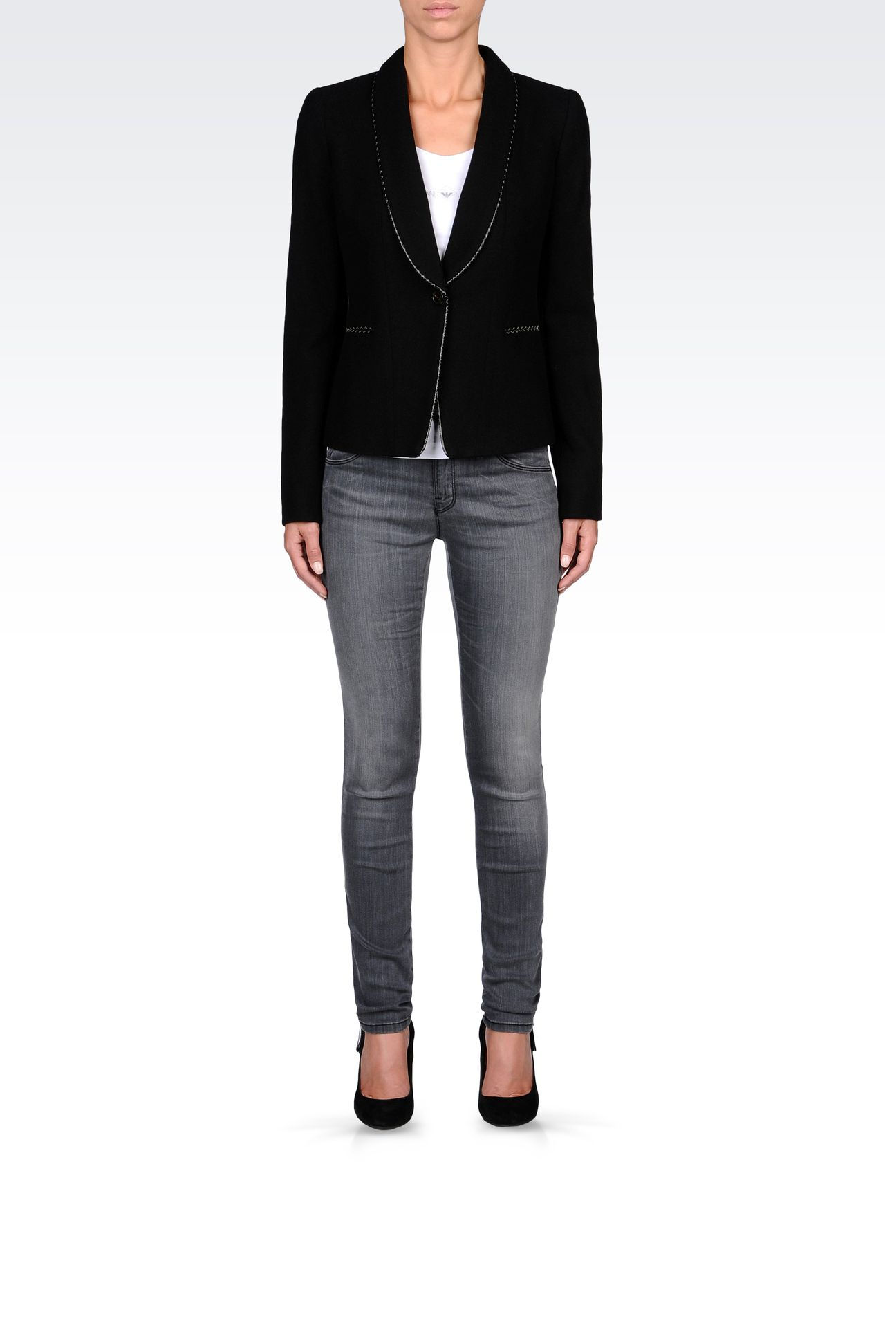 TWILL BLAZER WITH LEATHER DETAILS: One button jackets Women by Armani - 0