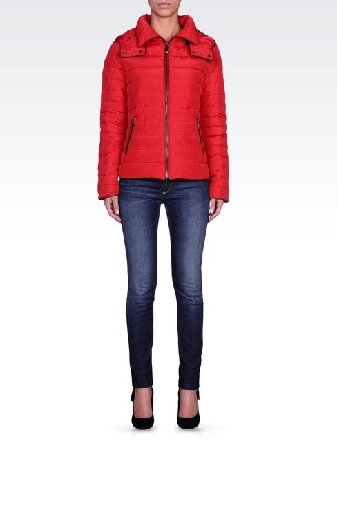FULL ZIP HOODED DOWN JACKET: Down coats Women by Armani - 1