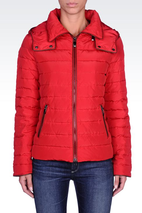 FULL ZIP HOODED DOWN JACKET: Down coats Women by Armani - 2
