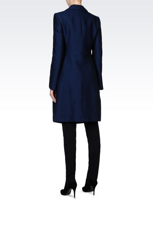 JACQUARD COAT WITH CHECK PRINT: Single-breasted coats Women by Armani - 3