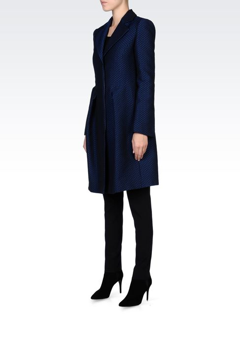 JACQUARD COAT WITH CHECK PRINT: Single-breasted coats Women by Armani - 2