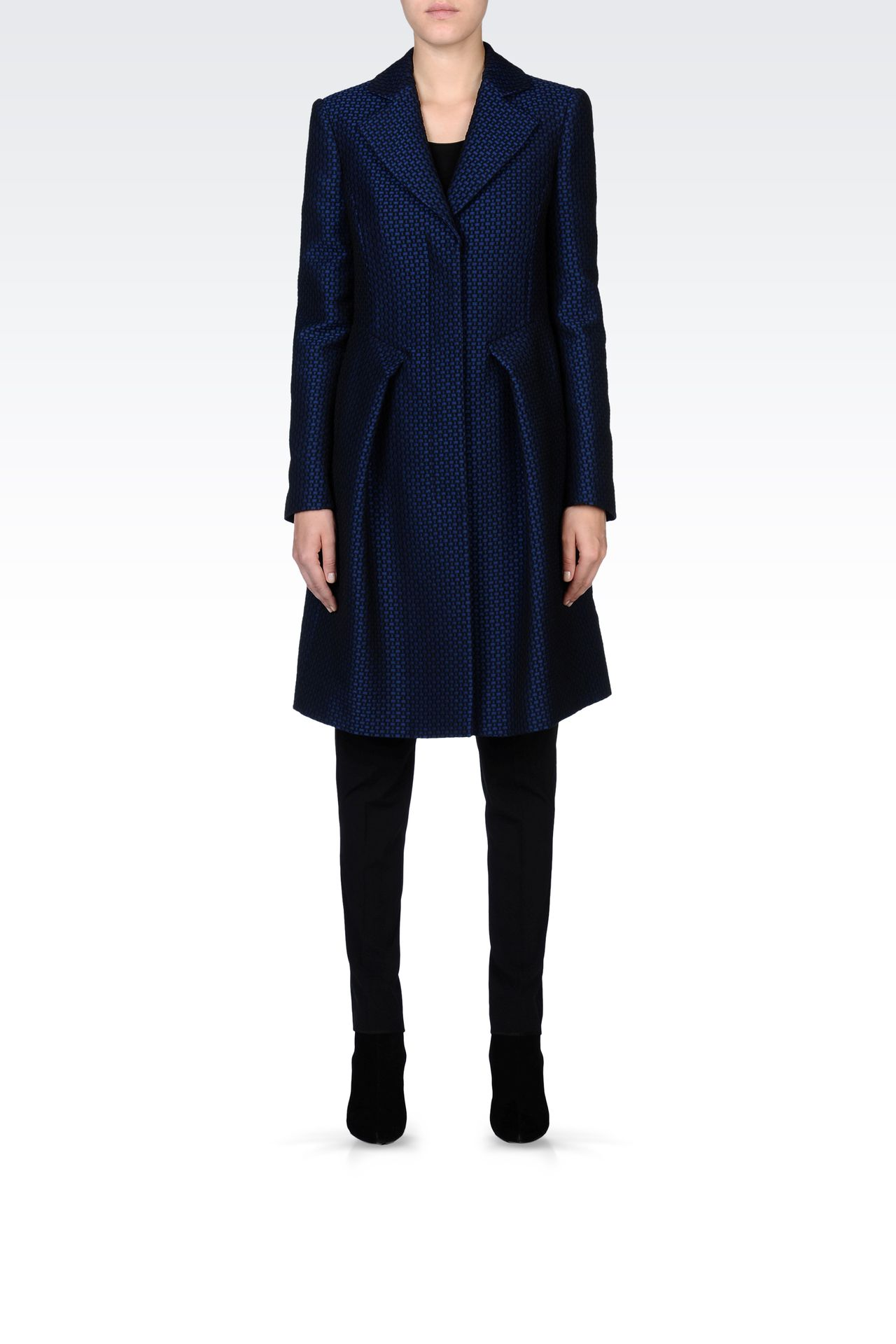 JACQUARD COAT WITH CHECK PRINT: Single-breasted coats Women by Armani - 0