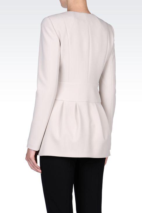 LONG CREW NECK JACKET IN CRÊPE: Dinner jackets Women by Armani - 3