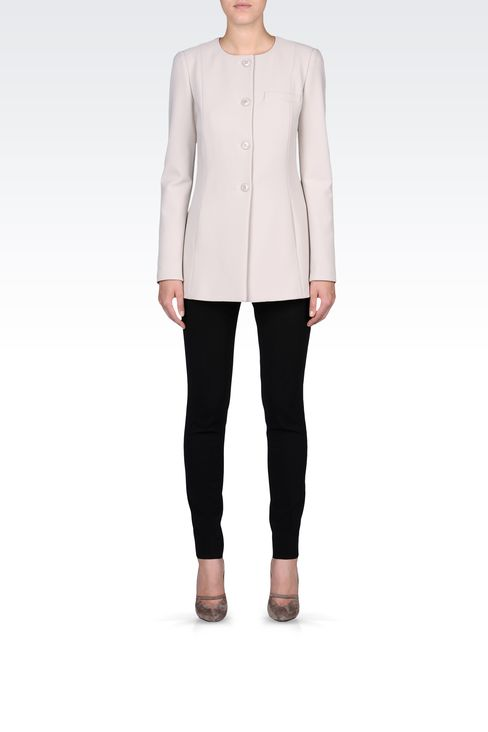 LONG CREW NECK JACKET IN CRÊPE: Dinner jackets Women by Armani - 1