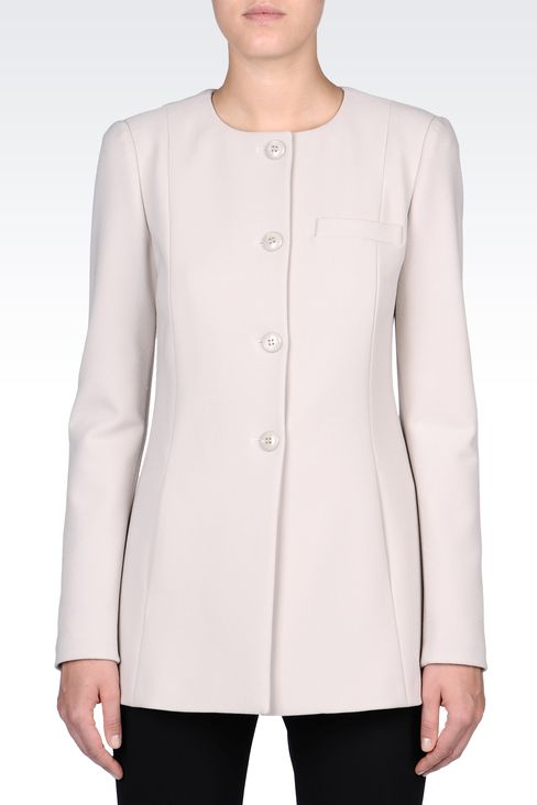 LONG CREW NECK JACKET IN CRÊPE: Dinner jackets Women by Armani - 2