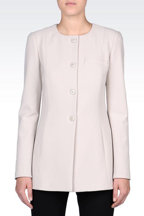 LONG CREW NECK JACKET IN CRÊPE: Dinner jackets Women by Armani - 2