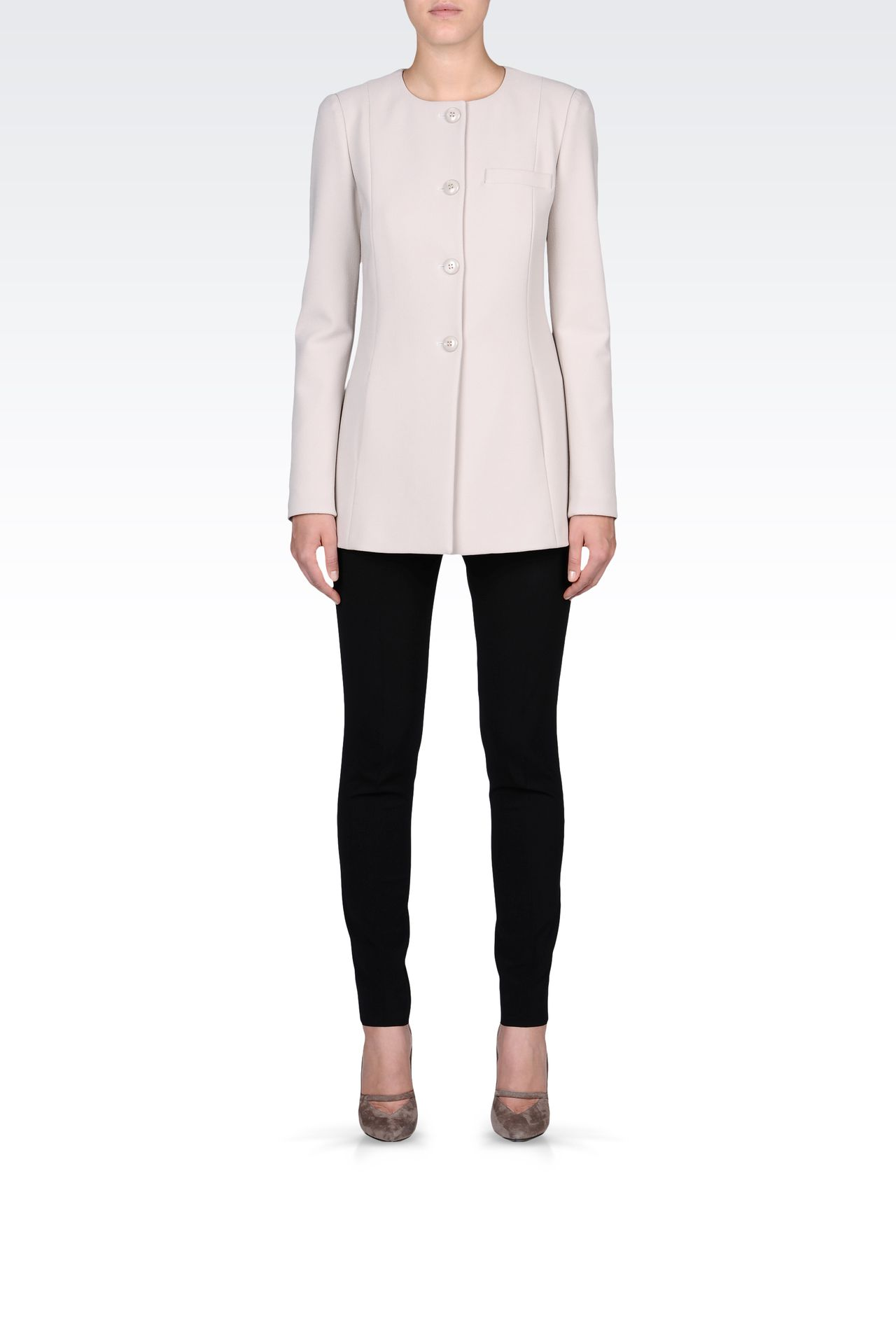 LONG CREW NECK JACKET IN CRÊPE: Dinner jackets Women by Armani - 0
