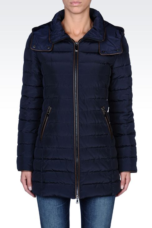 FULL ZIP HOODED DOWN COAT: Down coats Women by Armani - 2