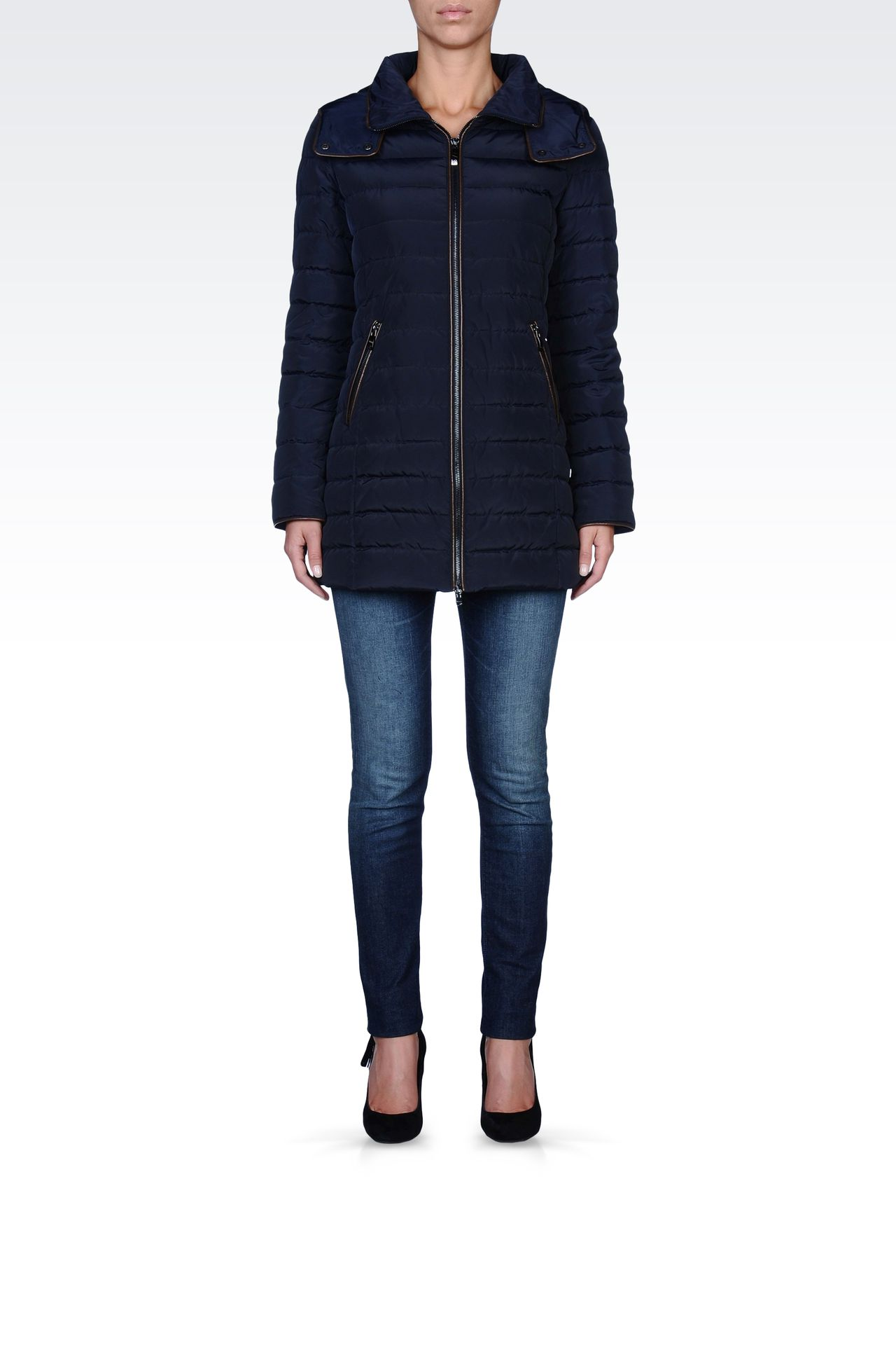 FULL ZIP HOODED DOWN COAT: Down coats Women by Armani - 0