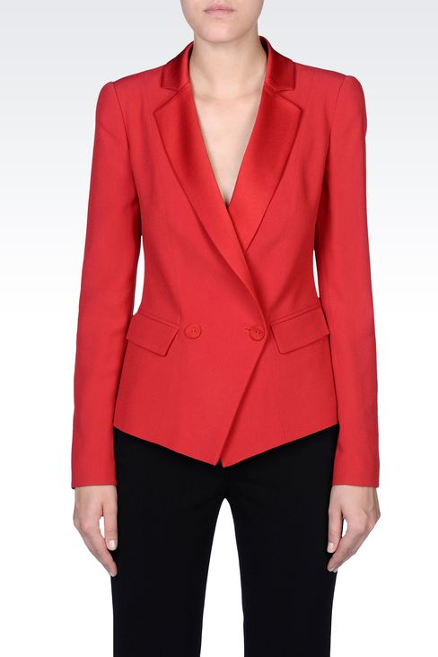 DOUBLE-BREASTED JACKET IN CRÊPE : Double-breasted jackets Women by Armani - 2