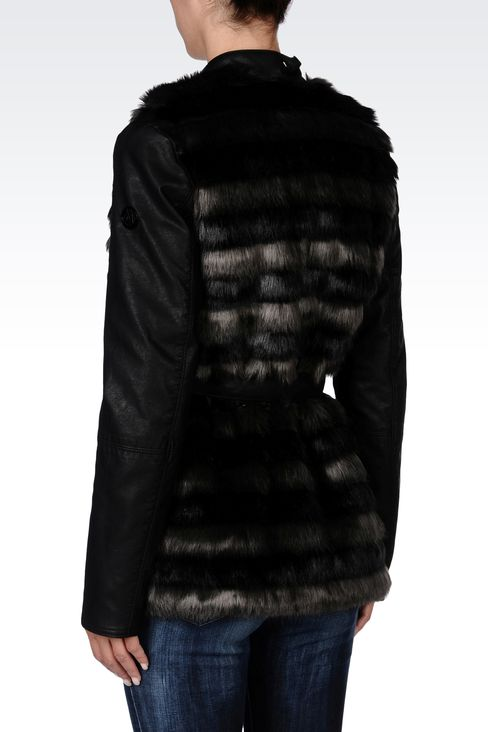 FUR COAT WITH LEATHER SLEEVES: Dust jackets Women by Armani - 3