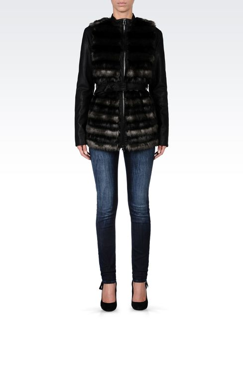 FUR COAT WITH LEATHER SLEEVES: Dust jackets Women by Armani - 1