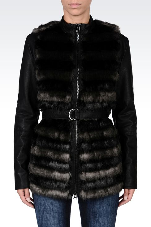 FUR COAT WITH LEATHER SLEEVES: Dust jackets Women by Armani - 2