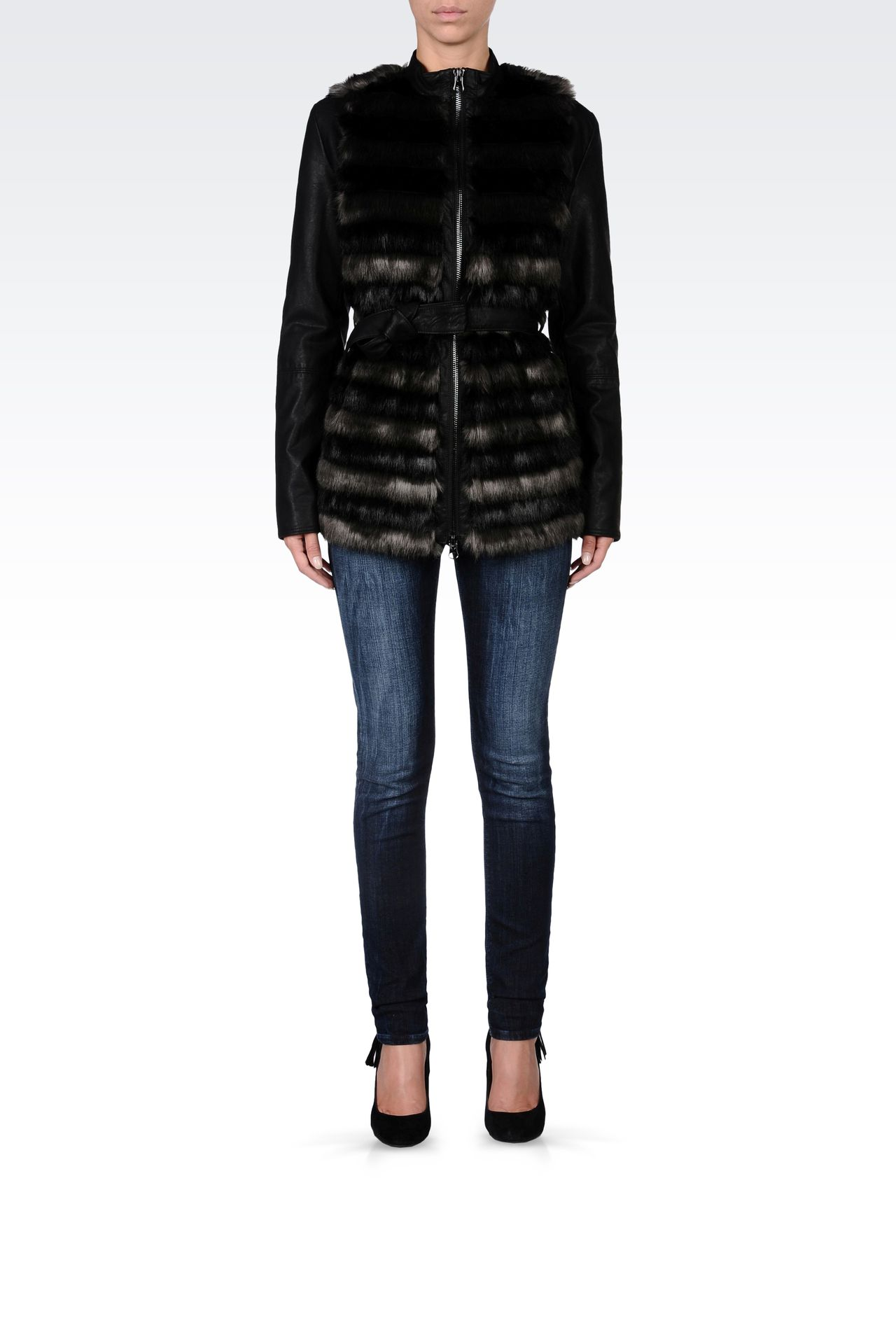 FUR COAT WITH LEATHER SLEEVES: Dust jackets Women by Armani - 0