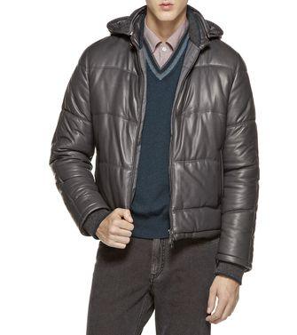 ERMENEGILDO ZEGNA: Leather outerwear Steel grey - 41380896QG
