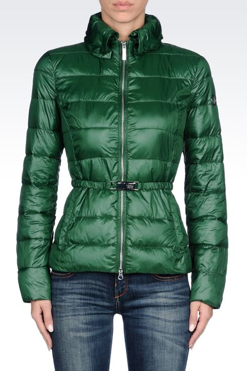 DOWN JACKET IN TECHNICAL FABRIC WITH BELTED WAIST: Bomber jackets Women by Armani - 3