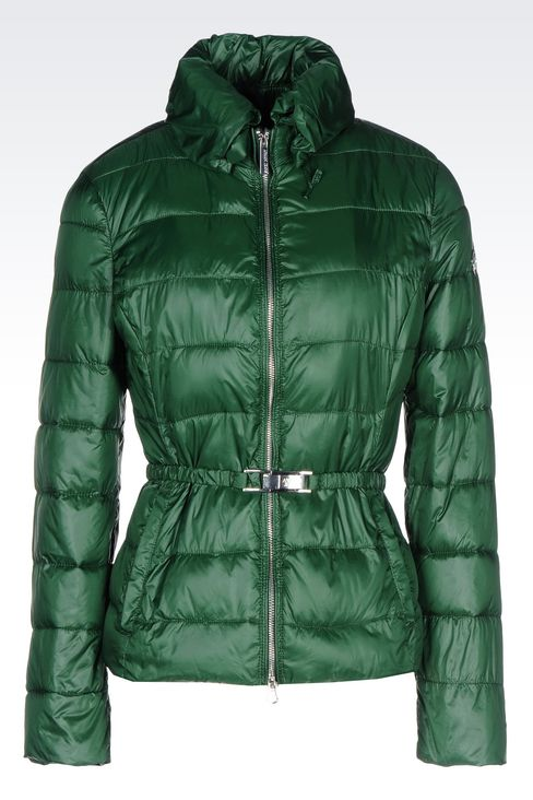 DOWN JACKET IN TECHNICAL FABRIC WITH BELTED WAIST: Bomber jackets Women by Armani - 1