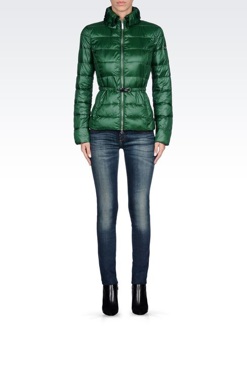 DOWN JACKET IN TECHNICAL FABRIC WITH BELTED WAIST: Bomber jackets Women by Armani - 2