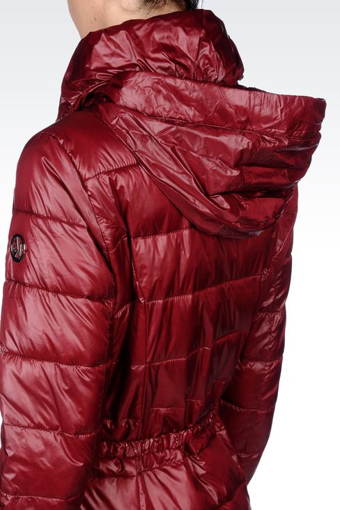 DOWN JACKET IN TECHNICAL FABRIC WITH BELTED WAIST: Dust jackets Women by Armani - 5
