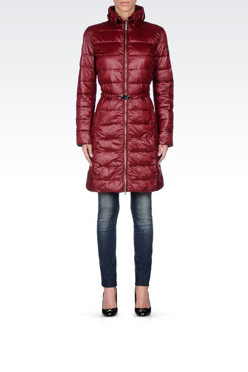 DOWN JACKET IN TECHNICAL FABRIC WITH BELTED WAIST: Dust jackets Women by Armani - 2