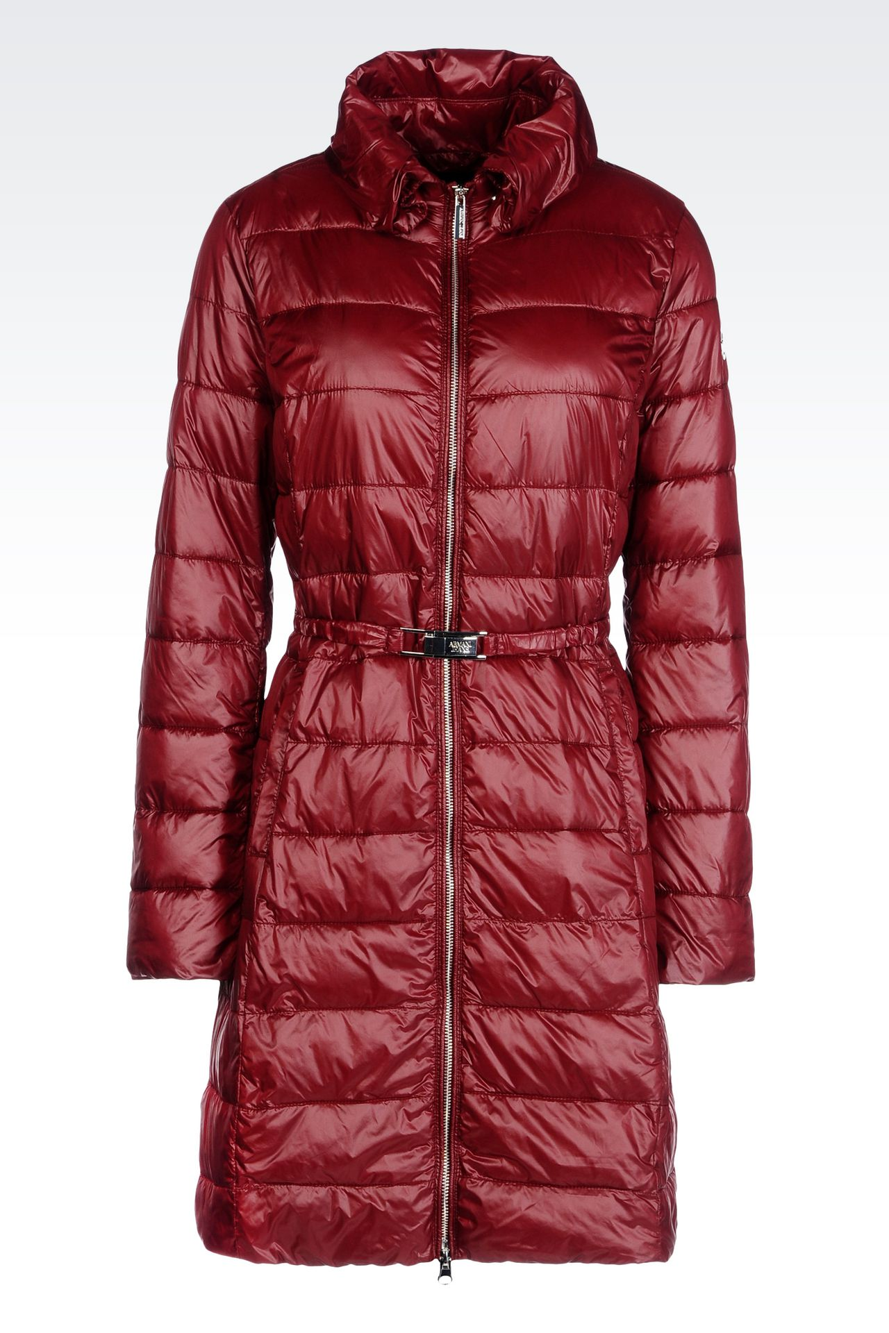 DOWN JACKET IN TECHNICAL FABRIC WITH BELTED WAIST: Dust jackets Women by Armani - 0