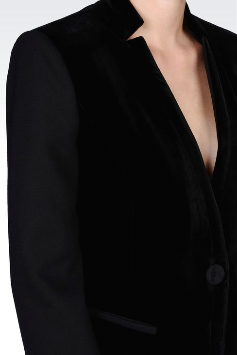 JACKET IN STRETCH VELVET AND WOOL: One button jackets Women by Armani - 4