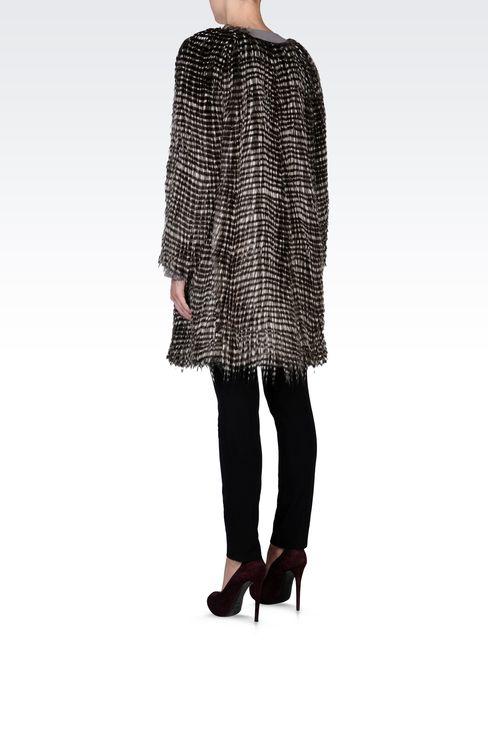 CREW NECK COAT IN ECO FUR: Fur Women by Armani - 3