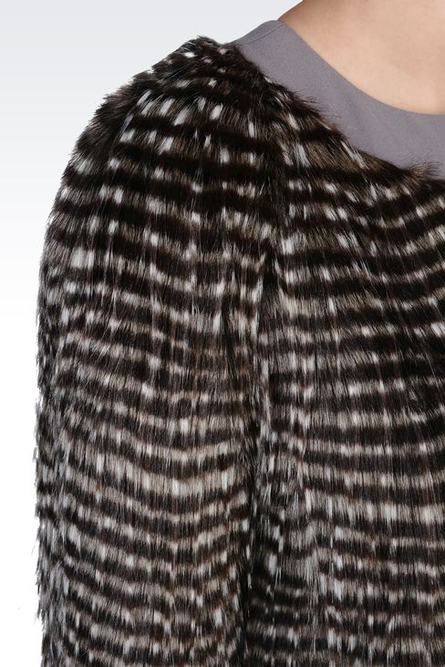 CREW NECK COAT IN ECO FUR: Fur Women by Armani - 4