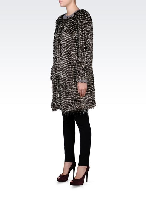 CREW NECK COAT IN ECO FUR: Fur Women by Armani - 2